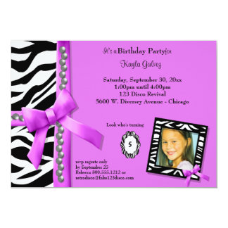 Hot Pink And Zebra Striped Birthday Party Invite