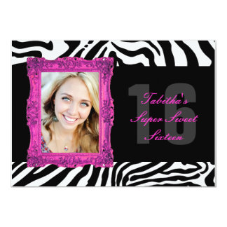 Hot Pink and Zebra | Sweet Sixteen Invitation