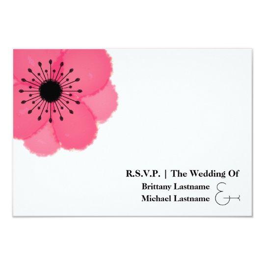 Hot Pink Anemone Modern Wedding R.S.V.P. Card