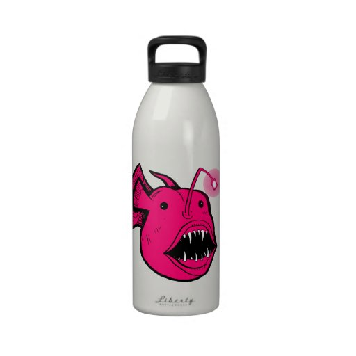 Hot Pink Anglerfish Redux White 32oz Water Bottle