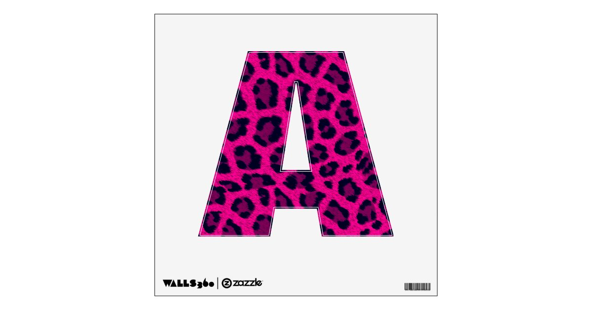 Hot Pink Animal Leopard Print 12x12 Letter A Wall Decal
