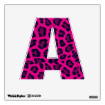 Hot Pink Animal Leopard Print 12X12 Letter A Wall Decals