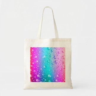 Hot Pink & Aqua Blue Gradient Water Droplets Tote Bag