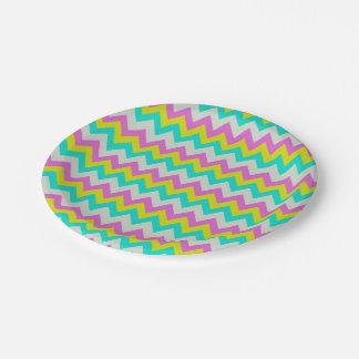 Hot Pink Aqua Yellow White Chevron Zig-Zag Pattern 7 Inch Paper Plate