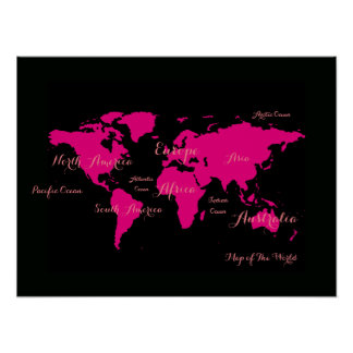 hot pink atlas . map of the world girly poster
