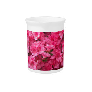 Hot Pink Azalea Blossoms Beverage Pitcher
