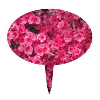 Hot Pink Azalea Blossoms Cake Topper