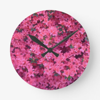 Hot Pink Azaleas Round Wall Clock