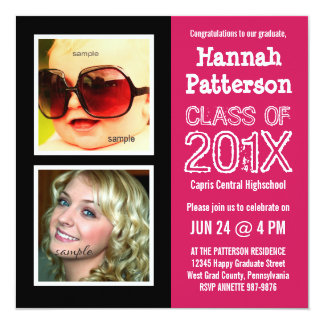Hot Pink Baby and Grad Photo Graduation Party 5.25x5.25 Square Paper Invitation Card