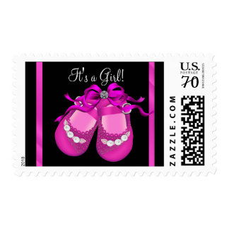 Hot Pink Baby Shoes Baby Girl Postage Stamps