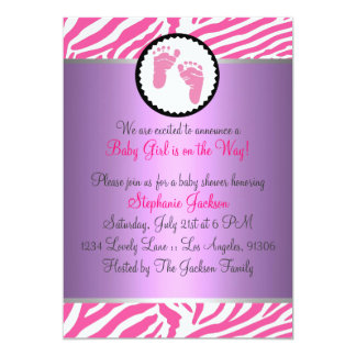 Hot Pink Baby Shower 5x7 Paper Invitation Card