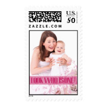 Hot Pink Baby's First Birthday Party Postage Stamp