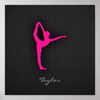 Hot Pink Ballet Dancer Poster