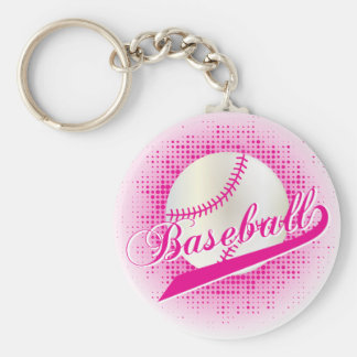 Hot Pink Baseball Keychain