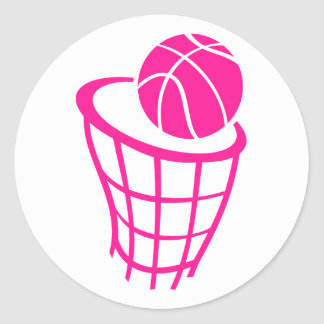 Hot Pink Basketball Classic Round Sticker