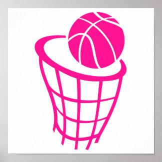 Hot Pink Basketball Poster