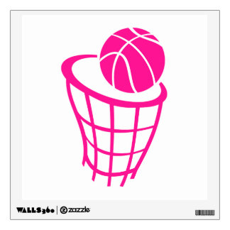 Hot Pink Basketball Room Stickers