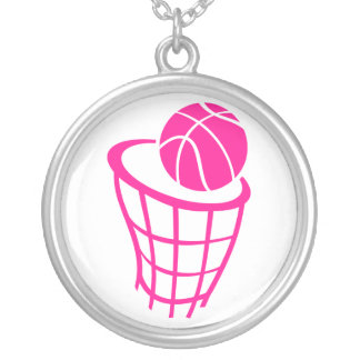 Hot Pink Basketball Silver Plated Necklace