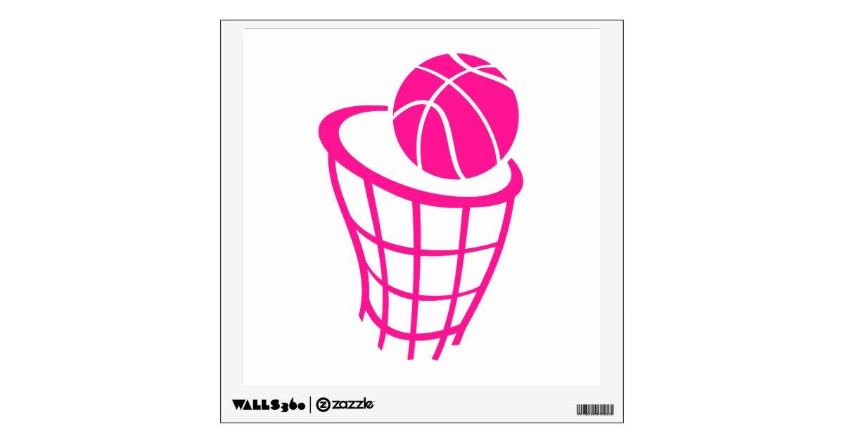 Hot Pink Basketball Wall Sticker   Zazzle