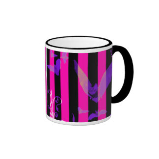 Hot Pink Bats Goth Halloween Coffee Mug
