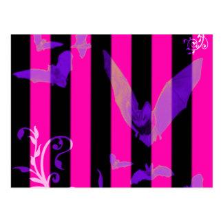 Hot Pink Bats Goth Halloween Postcard
