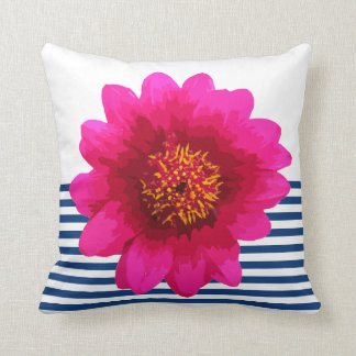 Hot Pink Beautiful Flower Navy Blue Stripes White Throw Pillow