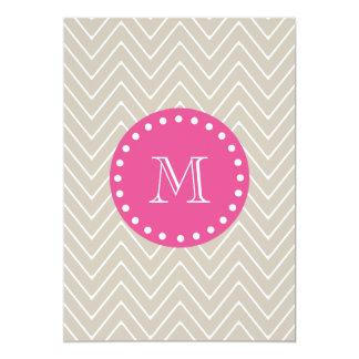 Hot Pink, Beige Chevron | Your Monogram Card