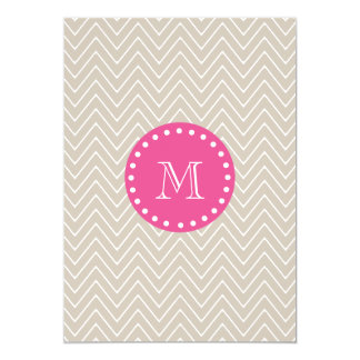 Hot Pink, Beige Chevron   Your Monogram Card