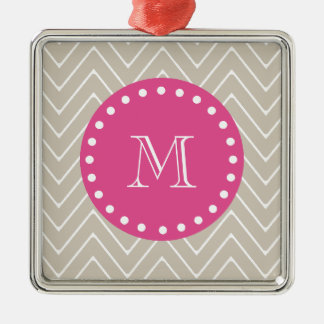 Hot Pink, Beige Chevron | Your Monogram Christmas Tree Ornament