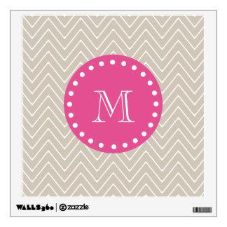 Hot Pink, Beige Chevron | Your Monogram Wall Sticker