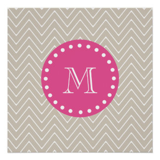 Hot Pink, Beige Chevron | Your Monogram Perfect Poster
