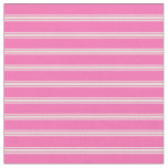[ Thumbnail: Hot Pink & Beige Lined Pattern Fabric ]