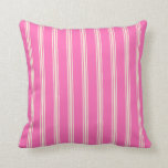 [ Thumbnail: Hot Pink & Beige Lined Pattern Throw Pillow ]