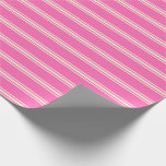[ Thumbnail: Hot Pink & Beige Lined Pattern Wrapping Paper ]