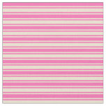 [ Thumbnail: Hot Pink & Beige Striped Pattern Fabric ]