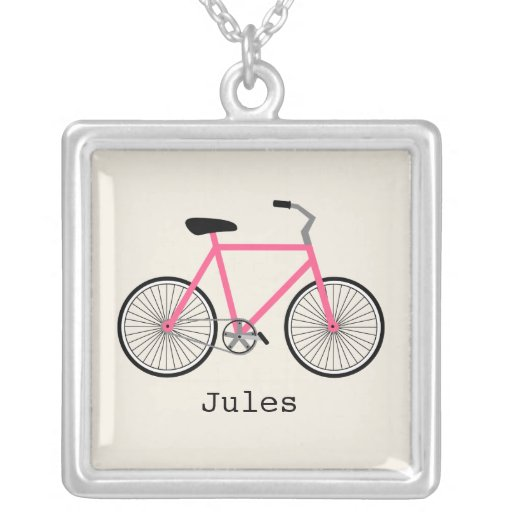 Hot Pink Bicycle Personalized Necklace