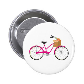 Hot PInk Bicycle with Oranges Pinback Buttons