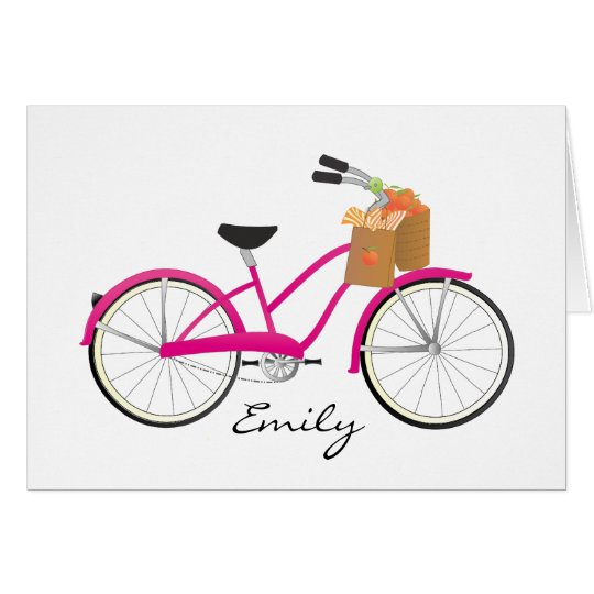 Hot PInk Bicycle with Oranges Card
