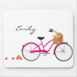 Hot PInk Bicycle with Oranges Mouse Pad