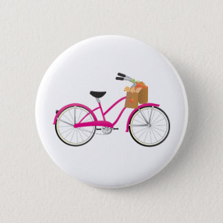 Hot PInk Bicycle with Oranges Pinback Button