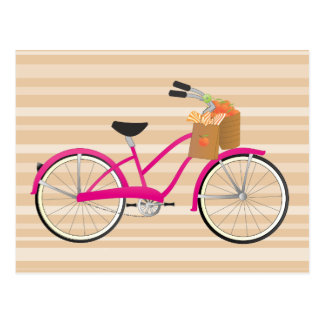 Hot PInk Bicycle with Oranges Postcards