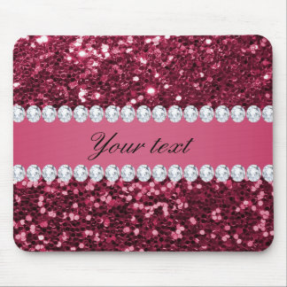 Hot Pink Big Faux Glitter and Diamonds Mouse Pad