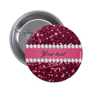 Hot Pink Big Faux Glitter and Diamonds Pinback Button