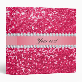 Hot Pink Big Faux Glitter with Diamonds Binder