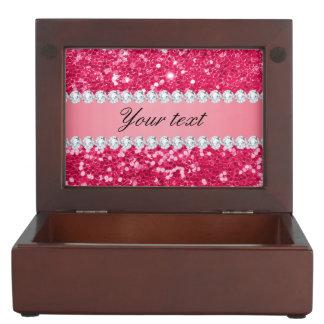 Hot Pink Big Faux Glitter with Diamonds Keepsake Box