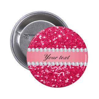 Hot Pink Big Faux Glitter with Diamonds Pinback Button