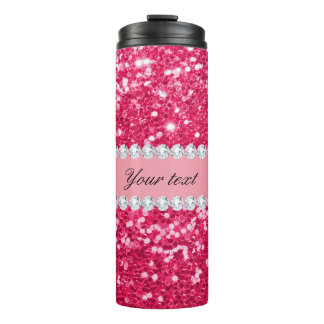 Hot Pink Big Faux Glitter with Diamonds Thermal Tumbler