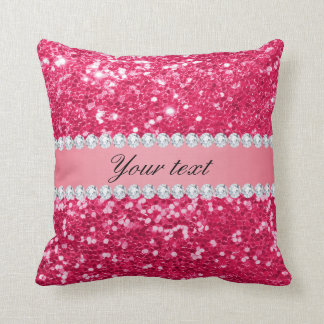 Hot Pink Big Faux Glitter with Diamonds Throw Pillow