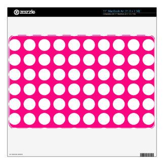 Hot Pink & Big White Polka Dots MacBook Decals