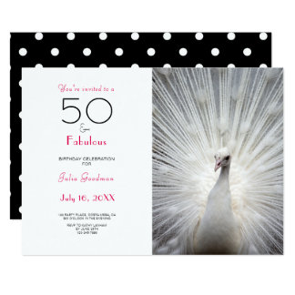 Hot Pink Black 50 and Fabulous Birthday Invitation